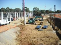 Column forms reinforcing steel set and waiting for column forms to be positioned 120310