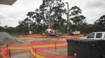 Construction starts at the entrance to AgriBio (near the remnant gum tree) 051009