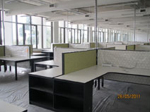 Open plan office and workstations